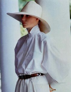 Dramatic hat and sleeve with popped collar. | Ralph Lauren