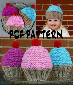Cupcake Hat Knitting Pattern Knit Cupcake Hat by BoPeepsBonnets, $6.00
