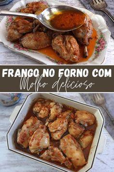 Oven Chicken, Baked Chicken Recipes, Recipe Chicken, Sweet Recipes, Vegan Recipes, Cooking Recipes, Garlic Pizza, Portuguese Recipes, Latest Recipe