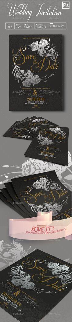 Wedding Invitation — Photoshop PSD #4x6 #poster • Download ➝ https://graphicriver.net/item/wedding-invitation/19249075?ref=pxcr