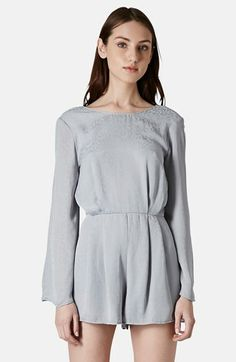 Topshop Animal Jacquard Long Sleeve Romper | Nordstrom