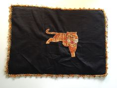 Vintage 60's Tiger Mat Hand Embroidered Chair Headrest Cover by ElkHugsVintage on Etsy