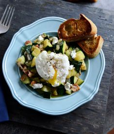 Zucchini Summer Skillet with Poached Eggs and Garlic Butter Baguettes!