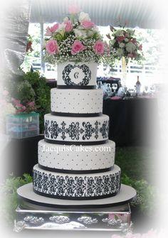 Tiffany's Black Damask Wedding Cake