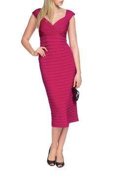 Dresses For Tall Ladies - Cross-Over Shutter Dress In Pink At LTS