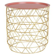 Blush and rose gold living room ideas | Pink and Gold Metal Side Table | Maisons du Monde | So Blush
