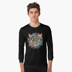 'Mexican Alebrije Dia De Los Muertos Day of the Dead Big Cat Spirit Animal' T-Shirt by tinaschofield Tshirt Colors, Color Mixing, Female Models, Chiffon Tops, Classic T Shirts, Long Sleeve Tees, Shirt Designs, Arm, Graphic Sweatshirt