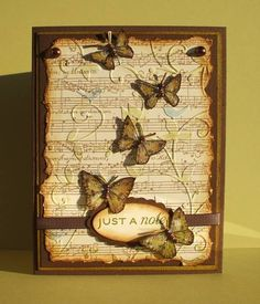 Stamps: SU bugs & slugs, SU musical score, Flourishes tag lines   Paper: PTI spring moss, dark chocolate, vintage cream   Ink: chocolate chip, old olive, vintage photo, antique linen, bashful blue   Accessories: pearls, dimensionals, ribbon, sponging, stickles, scallop and oval punches, birds & swirls ef...