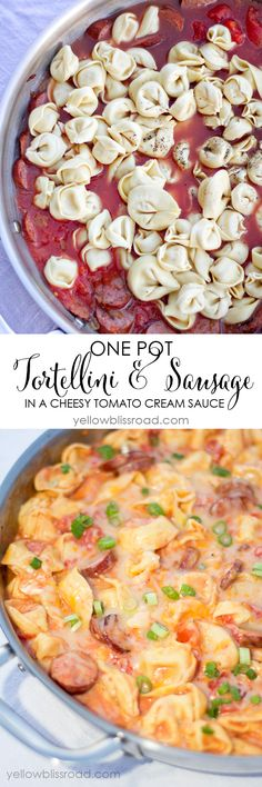 One Pot Tortellini and (Turkey) Sausage in a Cheesy Tomato Cream Sauce - A delicious meal that's ready in 20 minutes! Could use other meats.  #onepotmeals