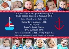 Lots of great ideas for a Nautical One Year Old Party - cute invitation with monthly photos