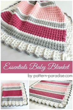 Free crochet pattern for essentials baby blanket, afghan, throw by Pattern-Paradise.com #crochet #patternparadisecrochet #blanket #baby