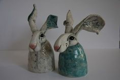 ceramic hare busts with embossed detail in ears