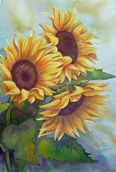 Sunflowers Large Watercolor Painting in Yellow, Green and Blue. $400.00, via…