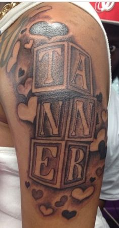 Baby name; building blocks tattoo