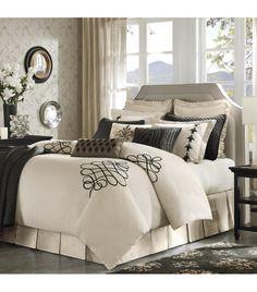Cream Fleur de Lis Comforter Set Brown Accents King or Queen
