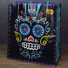 Sugar Skull Tote Reusable Grocery Bags, Sugar Skull, Crackers, Wallet, Halloween, Barrel, Accessories, Pretzels, Sugar Skulls
