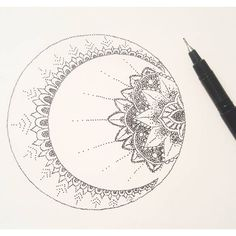 Just experimented with some stipple art. Live by the sun, feel by the moon  #moon #sun #art #drawing ...