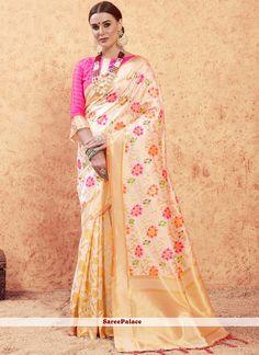 Buy Art Silk Weaving Cream and Pink Designer Traditional Saree Online Trendy Sarees, Stylish Sarees, Indian Sarees, Silk Sarees, Latest Designer Sarees, Indian Outfits, Indian Clothes, Traditional Sarees, Indian Ethnic Wear