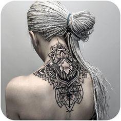 Beauty @otheser_stc tattoodo nape geometric mandala lotus flower blackwork blackandgrey otherser_stc