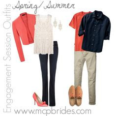 Spring/Summer Engagement Session Outfit Ideas Coral and Navy Engagement Outfits, Engagement Couple, Engagement Session, Engagement Photos, Picture Outfits, Couple Outfits, Family Outfits, Family Photos What To Wear, Matching Outfits