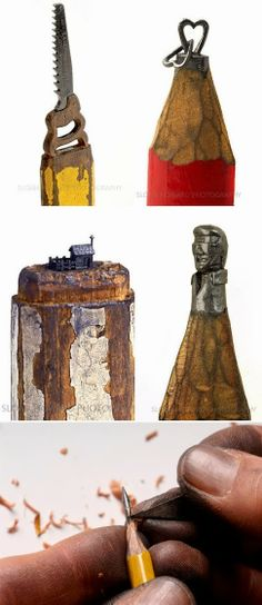 Unique Junktique: Tuesday's Top Five Favorite Junk Finds #19 - Featuring Pencil Sculpture Art - Dalton Ghetti