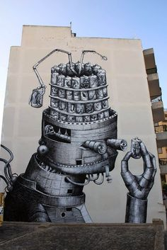 Phlegm's mural in Ibiza, Spain, for the 2013 Bloop Festival.