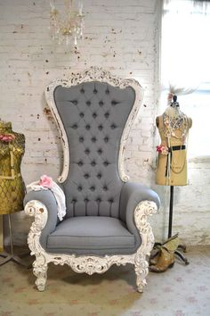 Painted Cottage Chic Shabby French Upholstered Tufted Chair [FRIBCHR] - $995.00 : The Painted Cottage, Vintage Painted Furniture