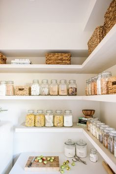 Home Remodel Apps Steal This Look: The Modern Farmhouse Pantry - Remodelista.Home Remodel Apps Steal This Look: The Modern Farmhouse Pantry - Remodelista Pantry Organisation, Pantry Storage, Kitchen Organization, Kitchen Storage, Organized Pantry, Pantry Ideas, Organization Ideas, Kitchen Display, Jar Storage