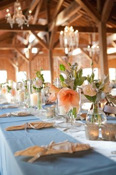 Blue and Peach Wedding | table-setting-idea-via-stylemepretty-com.jpg