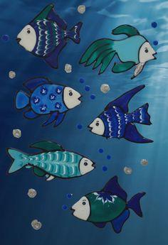 Calcomanías de ventana, azul y blanco de pescado pescado conjunto, art de baño de los niños