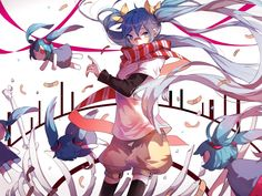 Anime Vocaloid  Hatsune Miku Long Hair Twintails Blue Hair Eye Chibi Doll Shorts Thigh Highs Scarf bow (Clothing) Bones Wallpaper