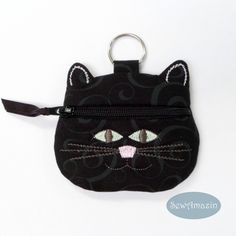 Black Cat Coin Purse, Earbud Pouch, Glow in the Dark Eyes | SewAmazin @sewamazin…