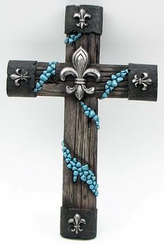 Fluer De Lis Cross I don't usually go for this decoration, but this one rocks Mosaic Crosses, Wooden Crosses, Crosses Decor, Wall Crosses, Decorative Crosses, Cross Love, Sign Of The Cross, Cross Wall Decor, Old Rugged Cross