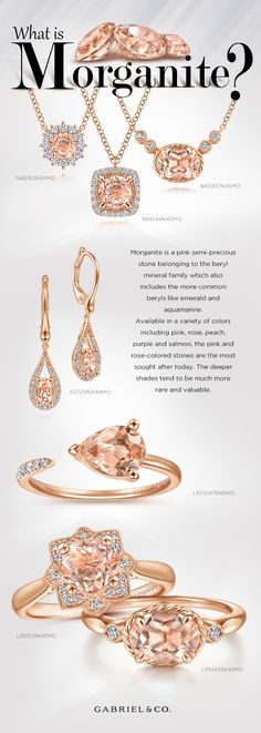 Morganite is a pink semi-precious stone belonging to the beryl mineral family which also includes the more common beryls like emerald and aquamarine. NK6143-NK6144-NK5937-LR51435-LR51531-LR51047-EG12195 #gabrieljewelry #gabrielnecklace #gabrielring #gabrielearrings #gabrielbracelet #GabrielNY #DiamondJewelry #FineJewelry #GabrielAndCo #UniqueJewelry #GiftIdeas #DiamondJewelry #GiftsforHer #Gifts #Necklaces #DiamondNecklace#Rings #FashionRings  #Earrings  #FashionEarrings  #Morganite Fine Jewelry, Unique Jewelry, Jewellery, Perfect Engagement Ring, Engagement Rings, Gabriel Jewelry, Morganite Engagement, Pink Stone, Luxury Jewelry