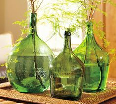 Vintage Wine Alternate View - Purchased from a collector who carefully selected them from restaurants throughout Central Europe, these vintage glass bottles were once used to store wine or sunflower oil. Wine Bottle Vases, Green Glass Bottles, Vintage Bottles, Bottles And Jars, Bottle Centerpieces, Antique Bottles, Vintage Perfume, Antique Glass, Perfume Bottles