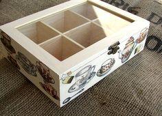 Wooden Tea Box Christmas Gift Tea Home Decor Tea by FloroMondo