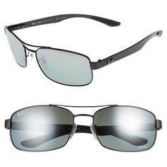 Men's Ray-Ban Chromance 62Mm Polarized Sunglasses ($290) ❤ liked on Polyvore featuring men's fashion, men's accessories, men's eyewear, men's sunglasses, shiny black, ray ban mens sunglasses, mens sunglasses, mens rectangle sunglasses, mens eyewear and men's rectangular sunglasses
