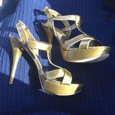 Gold Metallic Guess Platform Heels
