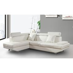 Elena White Leather Modern 2-Piece Sectional Sofa Set - Overstock™ Shopping - Big Discounts on Sectional Sofas