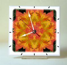 Desk clock Daylily mandala ceramic tile with by RVJamesDesigns, $24.95