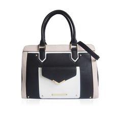 LYDC Bentley Black Luxury Structured Tote Bag