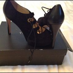 NEW WITH BOX TALBOTS HEELS NIB Black leather and suede lace up heels. Purchased at Talbots, never worn. Size 9.5 platform heel. Talbots Shoes Platforms