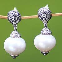 Pearl dangle earrings, 'Dream' by NOVICA