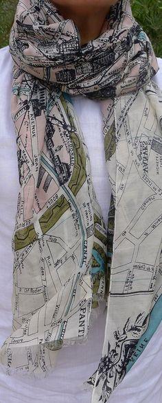 Map of Paris Scarf