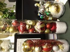 Holiday centerpieces using ornaments