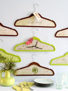 Cute idea to use wooden hangers as frames!                                                                                                                                                      More