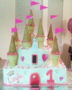 Homemade Princess Castle Birthday Cake: I made this Princess Castle Birthday Cake for my daughter's very 1st birthday! She is our first child and our princess, so we just had to do it! It was