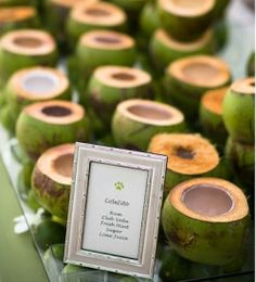 Coconuts as drink cups for a desination wedding. Such a cool idea.