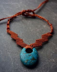 macrame necklace with stone focal by TheDandelionGypsy on Etsy Macrame Necklace, Macrame Jewelry, Turquoise Necklace, Pendant Necklace, Jewelry Accessories, Jewelry Design, Unique Jewelry, Micro Macramé, Macrame Tutorial
