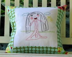 Embroidered pillow made from childrens artwork! @Besserina